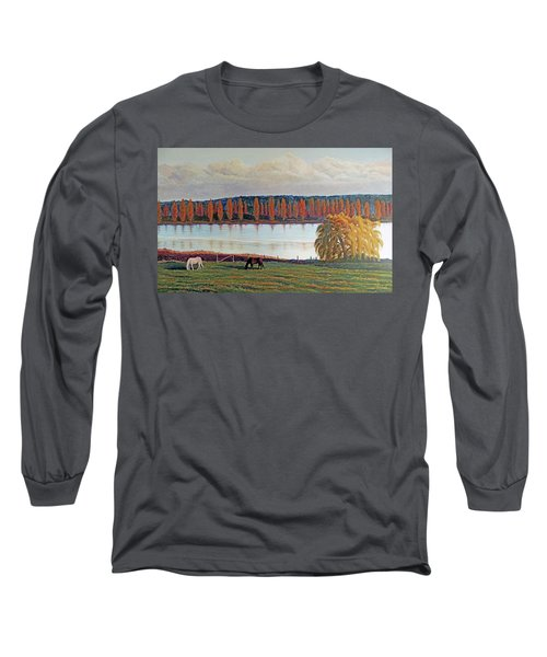 Long Sleeve T-Shirt featuring the painting White Horse Black Horse by Laurie Stewart