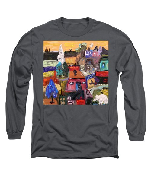 Long Sleeve T-Shirt featuring the painting White Horse In The Village Field by Mary Carol Williams
