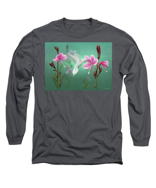 White Hummingbird And Pink Guara Long Sleeve T-Shirt