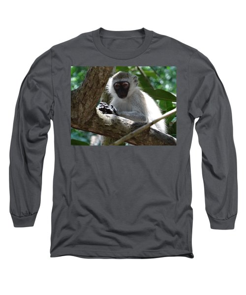 White Monkey In A Tree 4 Long Sleeve T-Shirt