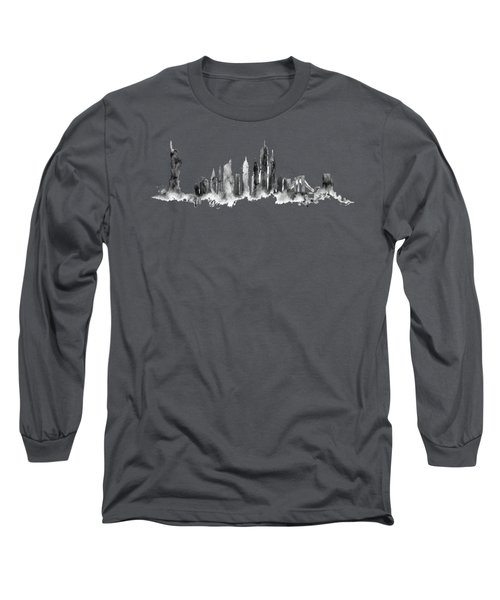 White New York Skyline Long Sleeve T-Shirt by Aloke Creative Store