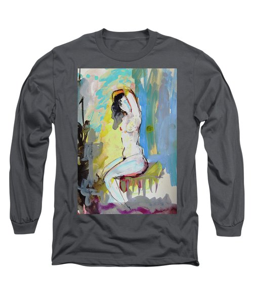White Nude And Bird Long Sleeve T-Shirt by Amara Dacer