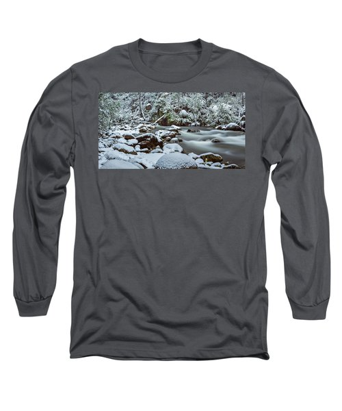 White On Green Long Sleeve T-Shirt by Mark Lucey
