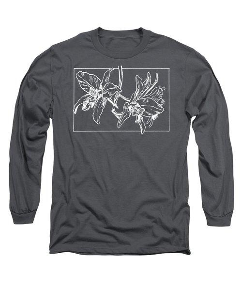 White Orchid On Transparent Background Long Sleeve T-Shirt