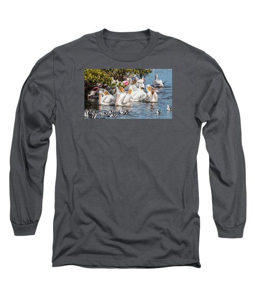 White Pelicans And Others Long Sleeve T-Shirt by Dorothy Cunningham