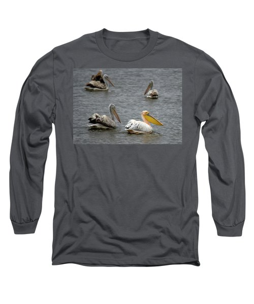 White Pelicans On Lake  Long Sleeve T-Shirt