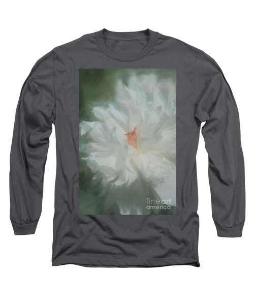 Long Sleeve T-Shirt featuring the photograph White Peony by Benanne Stiens