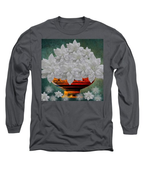 White Poinsettias In A Bowl Long Sleeve T-Shirt by Saundra Myles