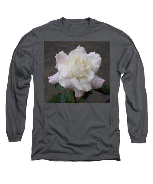 White Rose In Rain - 3 Long Sleeve T-Shirt