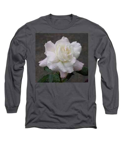 White Rose In Rain - 3 Long Sleeve T-Shirt