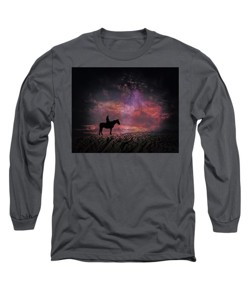 White Sands Horse And Rider #4c Long Sleeve T-Shirt