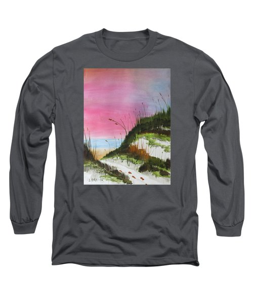 Long Sleeve T-Shirt featuring the painting White Sandy Beach by Jack G Brauer