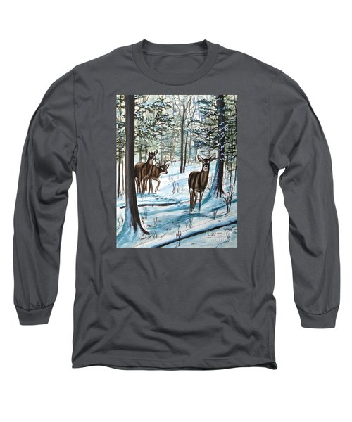 White Tail Deer In Winter Long Sleeve T-Shirt