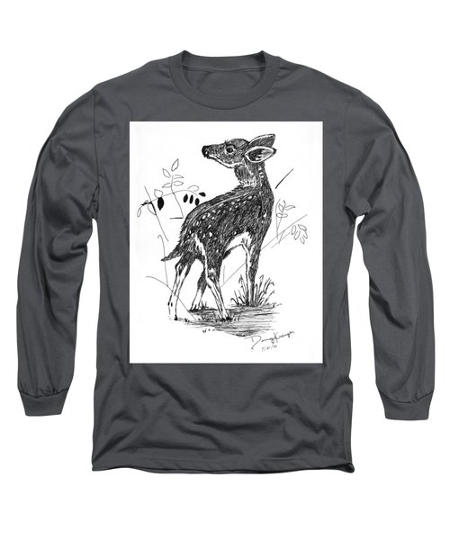 White-tail Fawn -pen And Ink Long Sleeve T-Shirt by Doug Kreuger