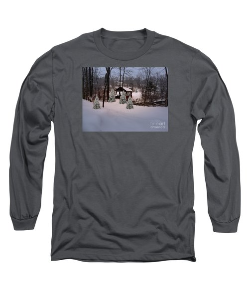 White Tailed Buck At Belmont N H Covered Bridge Long Sleeve T-Shirt by Mim White