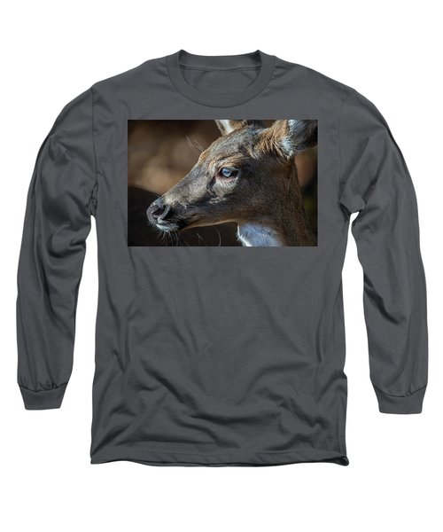 White Tailed Deer Facial Profile Closeup Portrait Long Sleeve T-Shirt