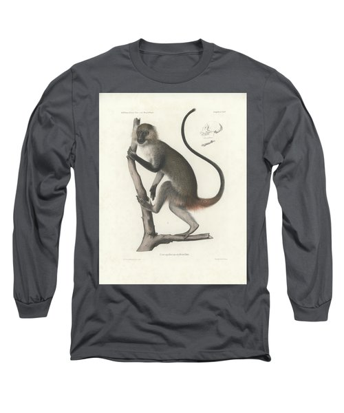 White Throated Guenon, Cercopithecus Albogularis Erythrarchus Long Sleeve T-Shirt