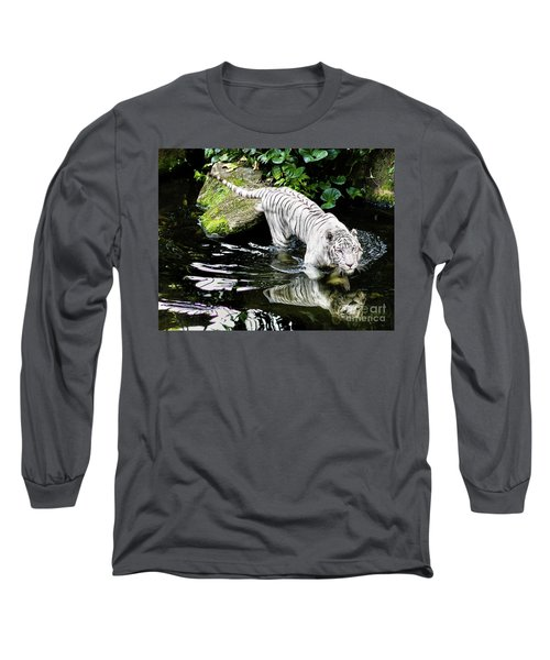 White Tiger Long Sleeve T-Shirt by M G Whittingham