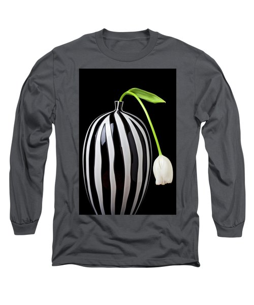 White Tulip In Striped Vase Long Sleeve T-Shirt by Garry Gay