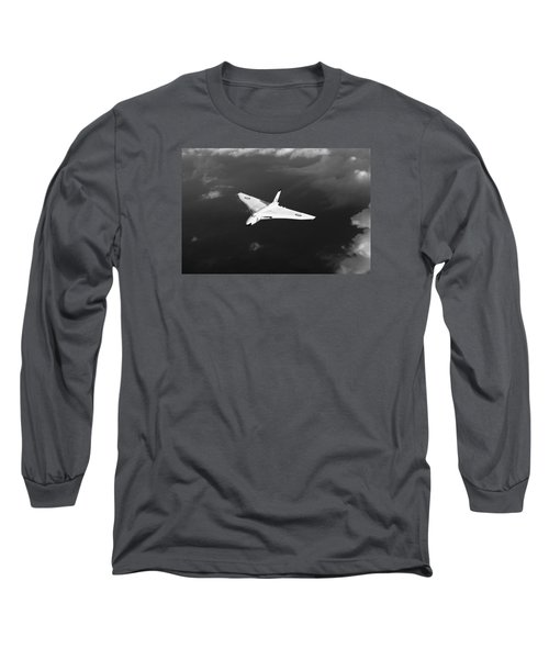 Long Sleeve T-Shirt featuring the digital art White Vulcan B1 At Altitude Black And White Version by Gary Eason