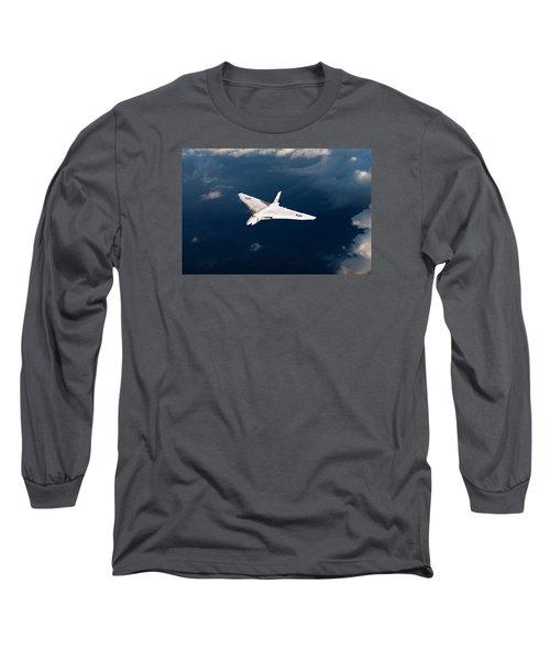 Long Sleeve T-Shirt featuring the digital art White Vulcan B1 At Altitude by Gary Eason