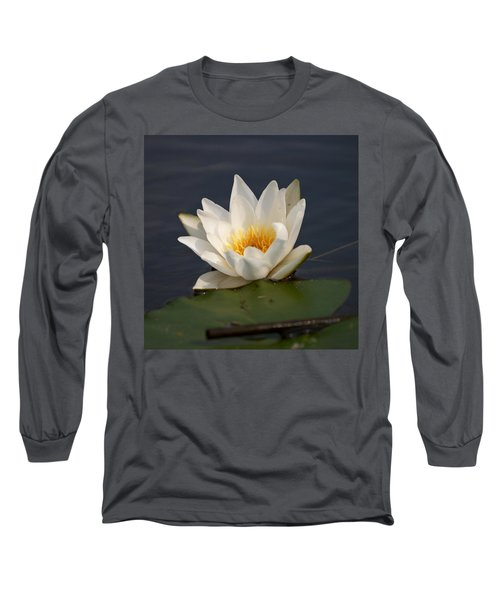 Long Sleeve T-Shirt featuring the photograph White Waterlily 1 by Jouko Lehto