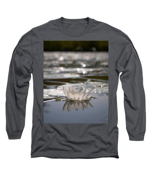 Long Sleeve T-Shirt featuring the photograph White Waterlily 3 by Jouko Lehto