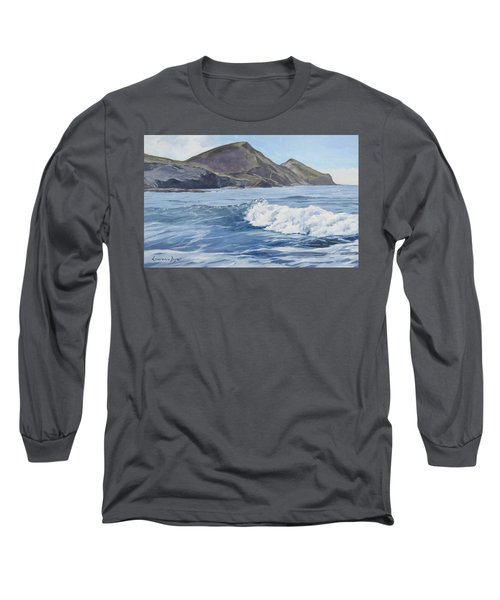 White Wave At Crackington  Long Sleeve T-Shirt