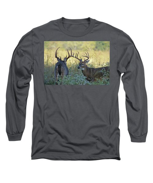 Whitetail Standoff Long Sleeve T-Shirt by TnBackroadsPhotos