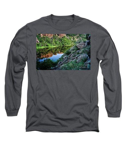 Wichita Mountain River Long Sleeve T-Shirt by Tamyra Ayles