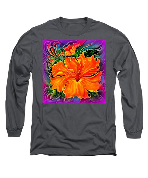 Wild Purple Hibiscus Long Sleeve T-Shirt