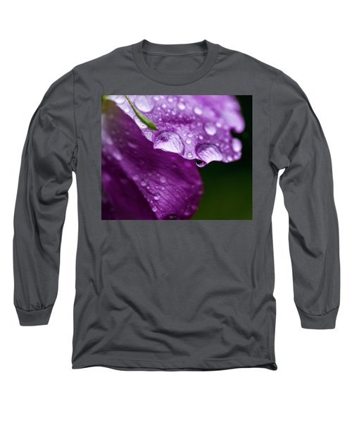 Long Sleeve T-Shirt featuring the photograph Wild Rose Droplet by Darcy Michaelchuk