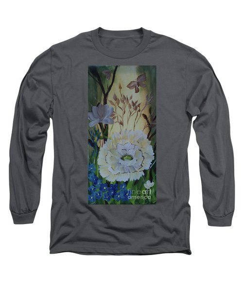 Wild Rose In The Forest Long Sleeve T-Shirt by Donna Brown