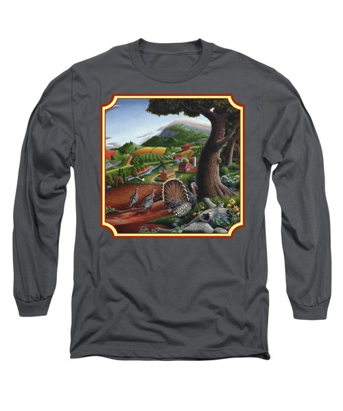 Wild Turkeys In The Hills Country Landscape - Square Format Long Sleeve T-Shirt by Walt Curlee