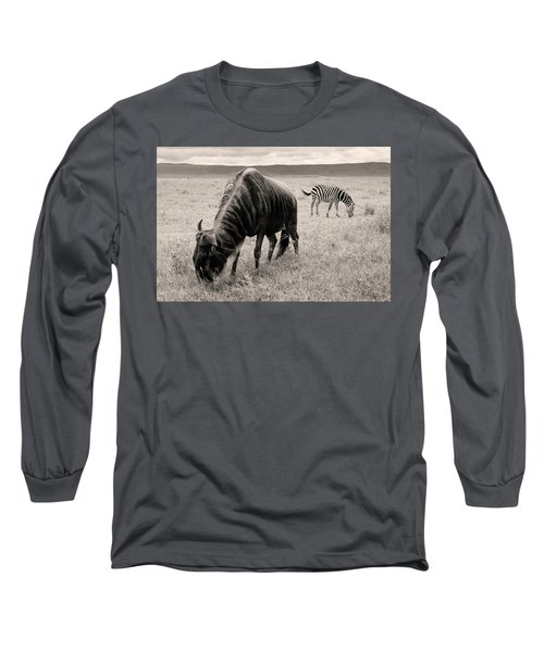 Long Sleeve T-Shirt featuring the photograph Wildebeest And Zebra by Stefano Buonamici