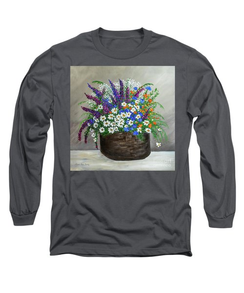 Wildflower Basket Acrylic Painting A61318 Long Sleeve T-Shirt
