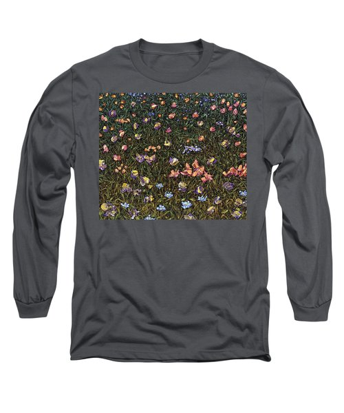Long Sleeve T-Shirt featuring the painting Wildflowers by James W Johnson