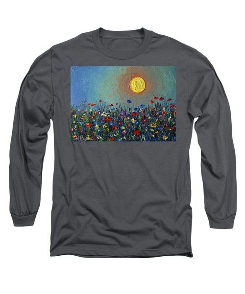 Wildflowers Meadow Sunrise Modern Floral Original Palette Knife Oil Painting By Ana Maria Edulescu Long Sleeve T-Shirt