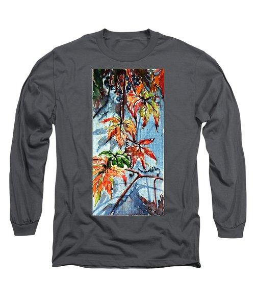 Long Sleeve T-Shirt featuring the painting Wildgrape by Kovacs Anna Brigitta