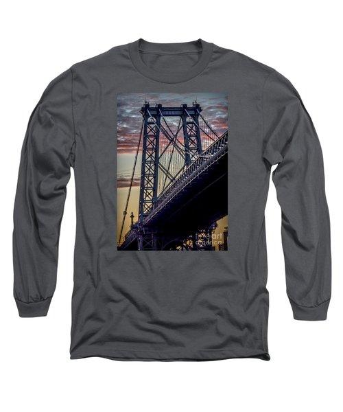 Williamsburg Bridge Structure Long Sleeve T-Shirt by James Aiken