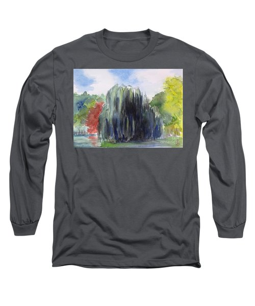 Willow Tree -2  Hidden Lake Gardens -tipton Michigan Long Sleeve T-Shirt by Yoshiko Mishina