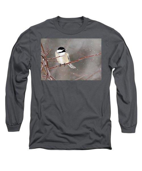 Windblown Chickadee Long Sleeve T-Shirt by Debbie Oppermann