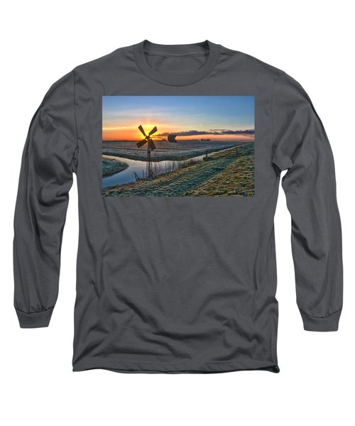 Windmill At Sunrise Long Sleeve T-Shirt by Frans Blok