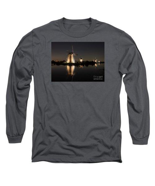 Windmills Illuminated At Night Long Sleeve T-Shirt by IPics Photography