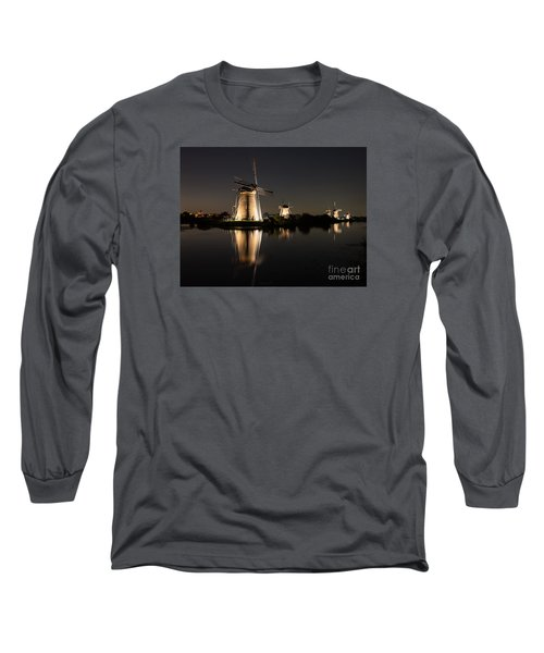 Windmills Illuminated At Night Long Sleeve T-Shirt