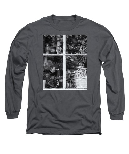 Window In Black And White Long Sleeve T-Shirt by Tom Singleton