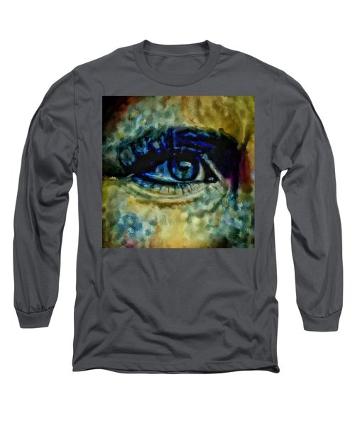 Long Sleeve T-Shirt featuring the painting Windows Into The Soul Eye Painting Closeup All Seeing Eye In Blue Pink Red Magenta Yellow Eye Of Go by MendyZ