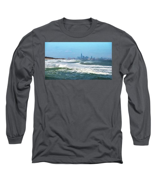 Windy View Of Nyc From Sandy Hook Nj Long Sleeve T-Shirt by Gary Slawsky