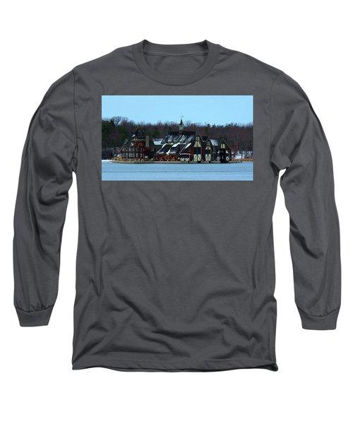Snow On Boldt Castle Yacht House Long Sleeve T-Shirt