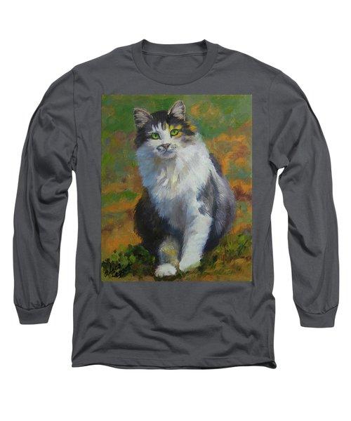 Winston Cat Portrait Long Sleeve T-Shirt by Alice Leggett